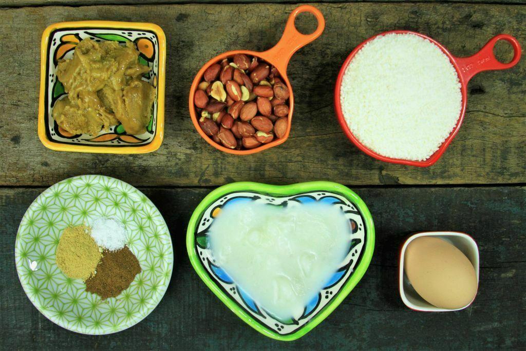 ingredientes biscoito de coco e amendoim - amor pela comida