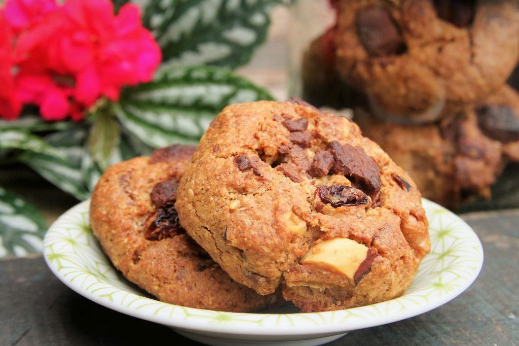 cookies de chocolate integral com passas, aveia, nozes e castanhas - amor pela comida