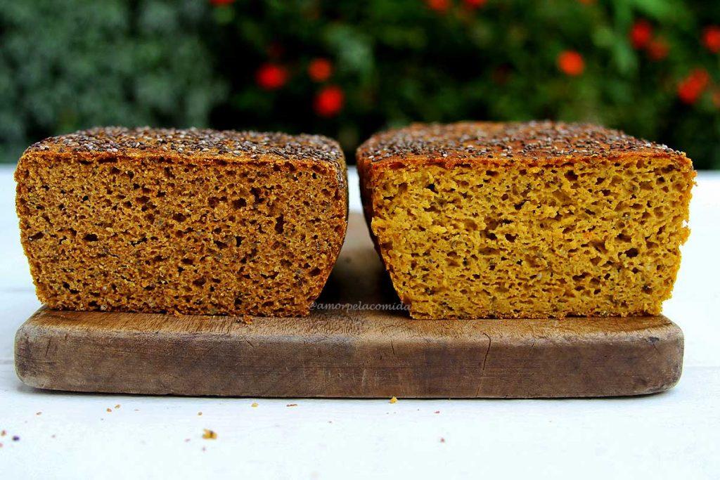 Pão de abóbora low carb com farinha de teff e farinha de coco