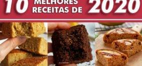 Montagem com 9 fotos de bolos, pães e sobremesas