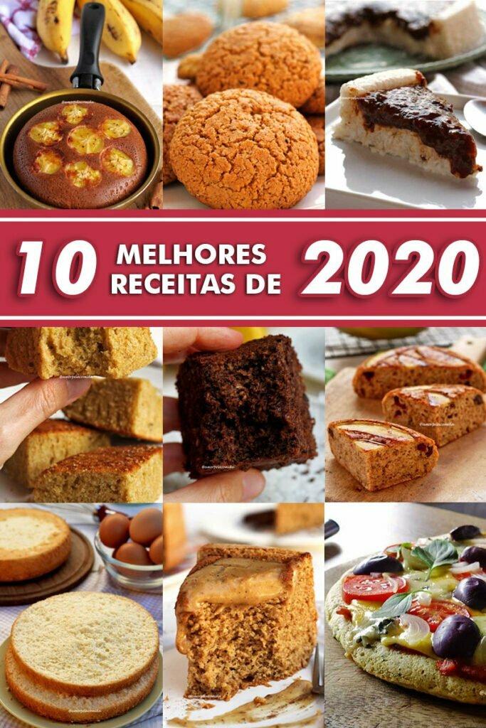 Montagem com várias fotos de bolos, biscoito, sobremesas e pizza